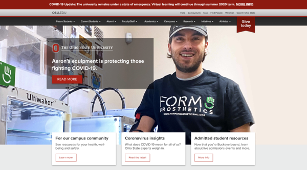 Ohio State University COVID-19 Website